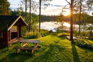 Beautiful lodge and sunset view