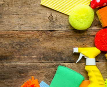 Colourful cleaning equipment and supplies