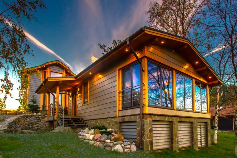 Wooden holiday lodge